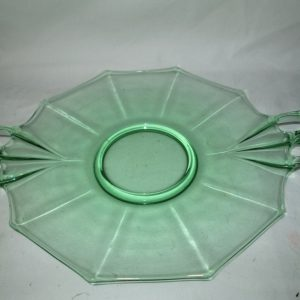 Vintage Beautiful Large Green Uranium Glass Glowing Platter Plate Tray Depression Art Deco Serving Stunning shape and pattern with handles