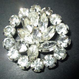 Vintage Beautiful Large Rhodium Plated Eisenberg Brooch Rhinestones Large Round unsigned Jewelry WOW Piece Wedding Evening Jewelry