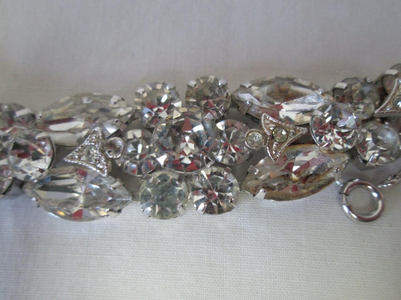 8a0553adc Vintage Beautiful Large Rhodium Plated Eisenberg Ice Bracelet Rhinestones  Large Signed Jewelry WOW Piece Wedding Evening