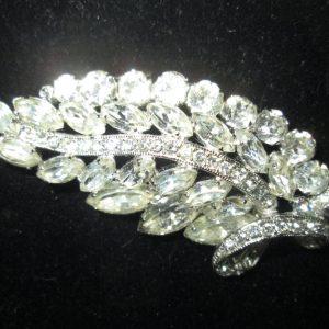 Vintage Beautiful Large Rhodium Plated Eisenberg Ice Brooch Rhinestones Large Leaf Pin Signed Jewelry WOW Piece Wedding Evening Jewelry