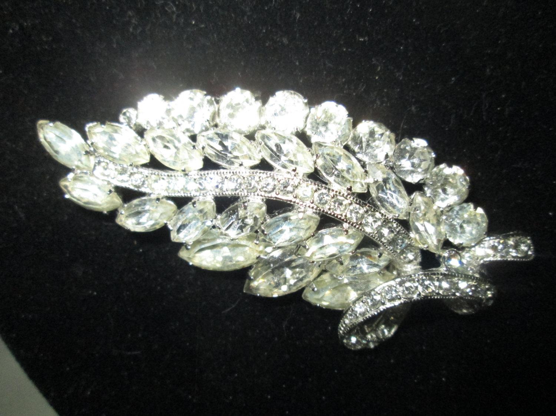 70aa9035e Vintage Beautiful Large Rhodium Plated Eisenberg Ice Brooch Rhinestones  Large Leaf Pin Signed Jewelry WOW Piece