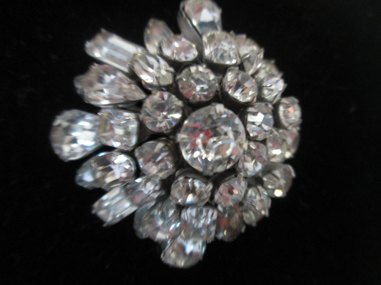 bd6ac8041 Vintage Beautiful Large Rhodium Plated Eisenberg Ice Brooch Rhinestones  Large Pin Signed Jewelry WOW Piece Wedding