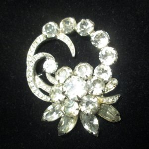 Vintage Beautiful Large Rhodium Plated Eisenberg Ice Brooch Rhinestones Large Pin Signed Jewelry WOW Piece Wedding Evening Jewelry