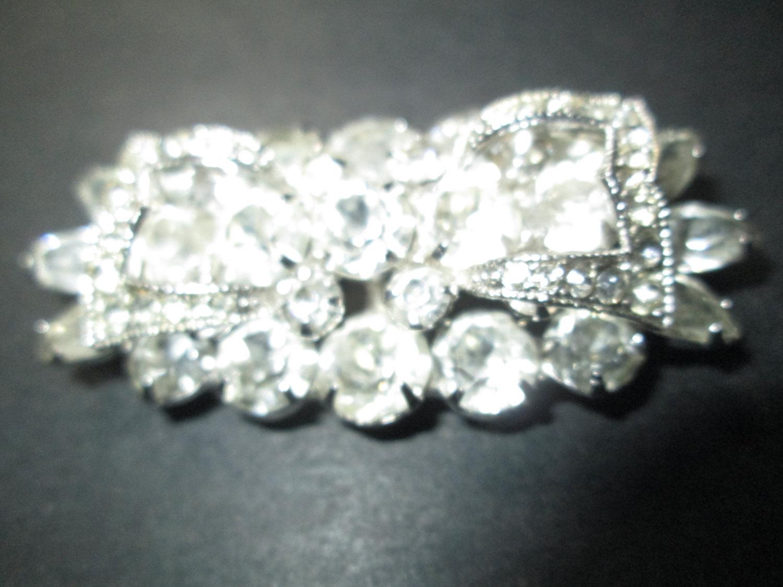 4e65f50f2075d Vintage Beautiful Rhodium Plated Eisenberg Brooch Rhinestones signed  Jewelry WOW Piece Wedding Evening Jewelry