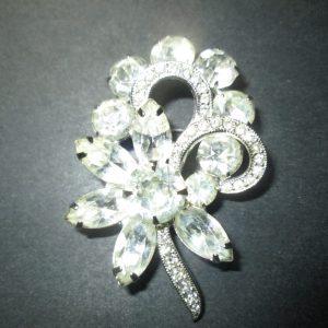 Vintage Beautiful Rhodium Plated Eisenberg Brooch Rhinestones signed Jewelry WOW Piece Wedding Evening Jewelry