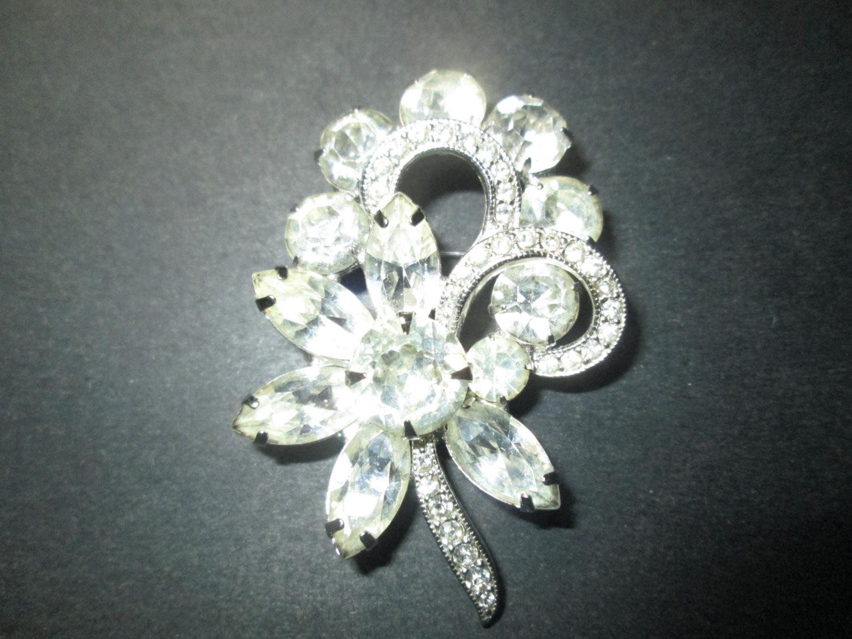 790a085ca Vintage Beautiful Rhodium Plated Eisenberg Brooch Rhinestones signed  Jewelry WOW Piece Wedding Evening Jewelry