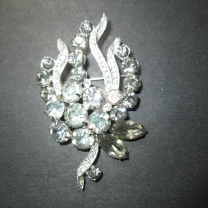 Vintage Beautiful Rhodium Plated Eisenberg Brooch Rhinestones signed Jewelry WOW Piece Wedding Evening Jewelry