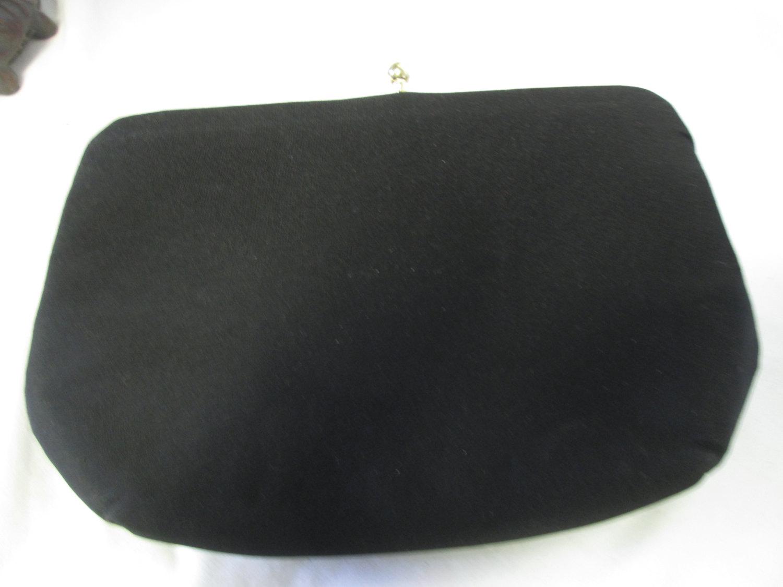 Vintage Black Silk Purse Clutch Evening Bag Hl Usa Gold