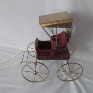 Vintage Carriage Planter Ceramic USA Pottery Planter on wheels