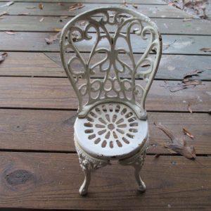 Vintage Cast Iron Doll Bear Doorstop Chair Garden Miniature chair Cast iron decor