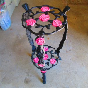 Vintage Cast Iron Plant Stand Plate Stand Black with Pink Roses Hand painted Art Deco Rack Stand