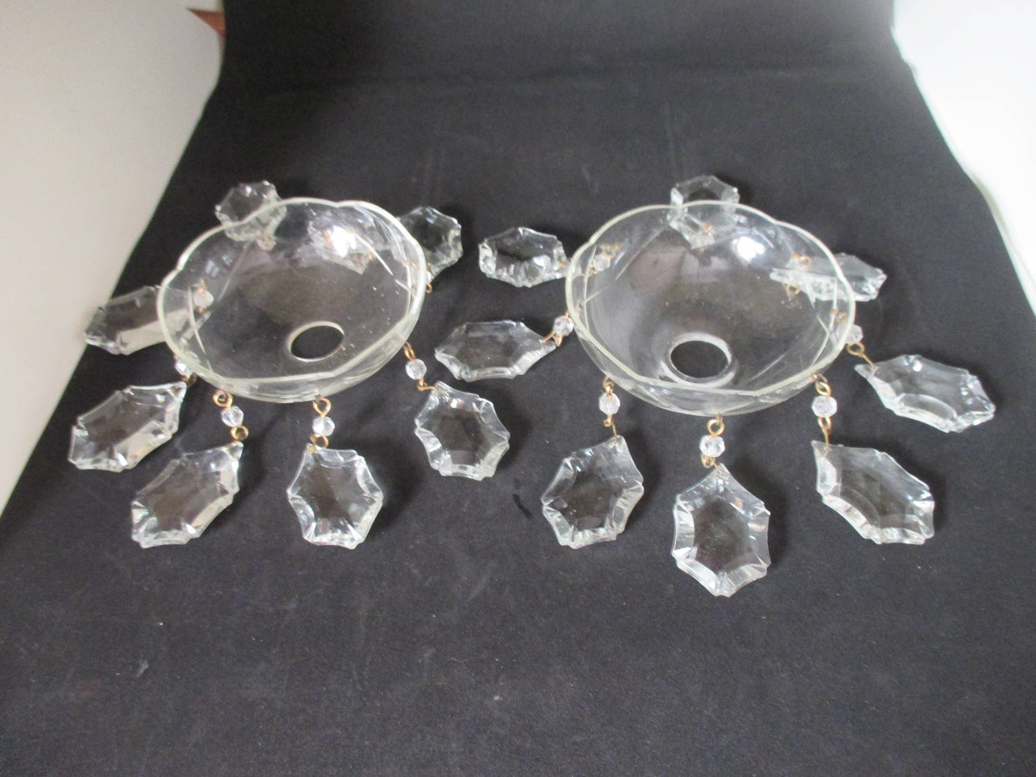 Vintage Chandelier Parts Bobeches With Crystals 2 Pieces Complete Lamp Home Decor Prisms Collectibles