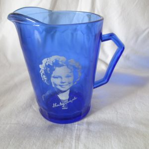 Vintage Cobalt blue Shirley Temple Cream Pitcher Glass