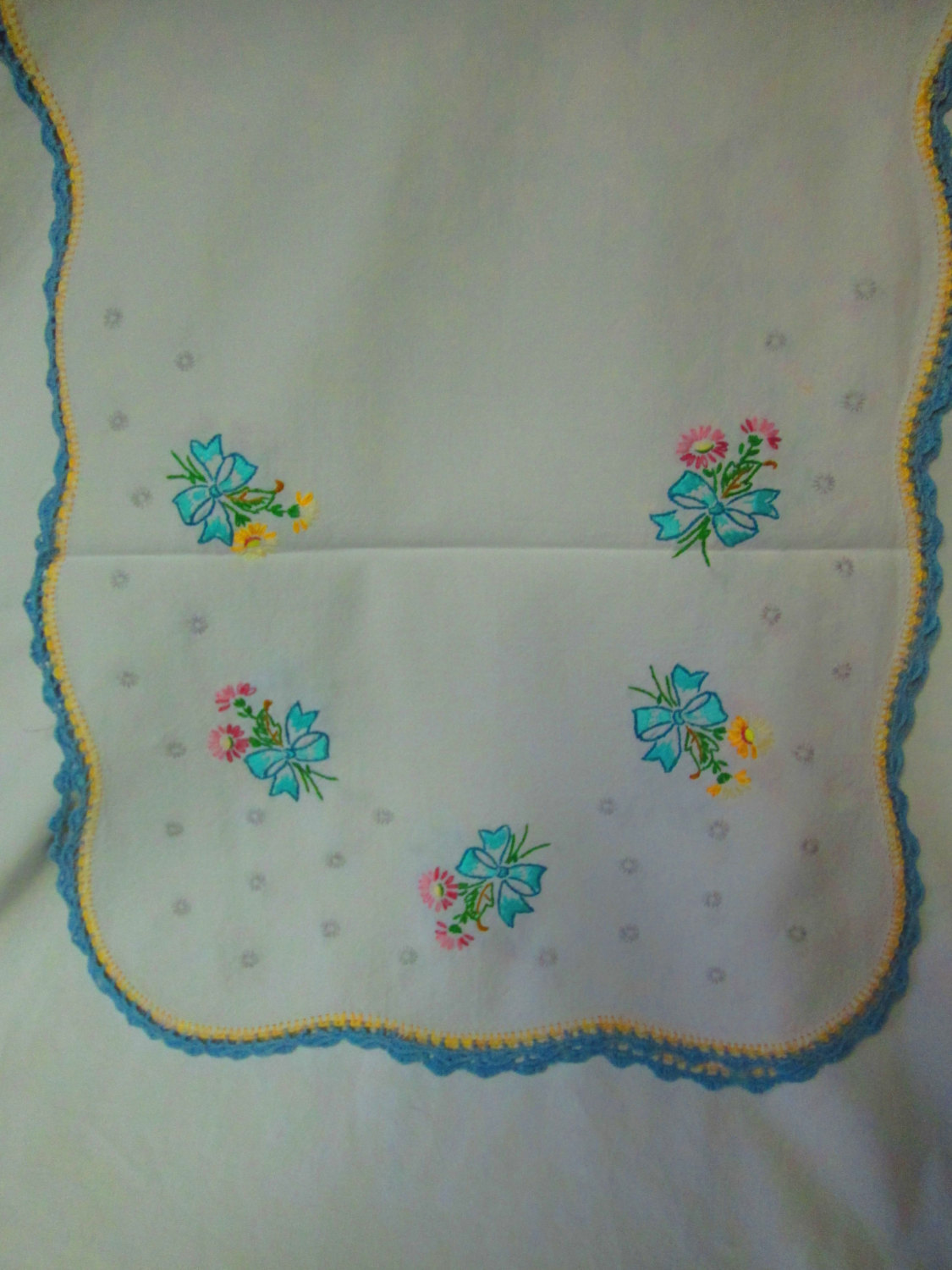 Vintage Cotton Dresser Scarf Hand Embroidered 100 Fl Bows With Flowers Grey Circles