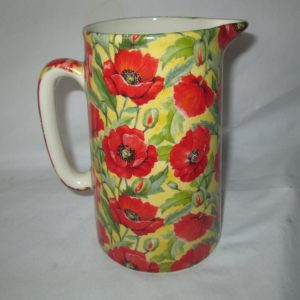 Vintage Crown Burslem Staffordshire England Water Pitcher with original Label Beautiful chintz pattern of Poppies yellow background