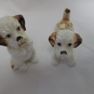 """Vintage Dog Pair figurines fine china Japan Mid Century Sitting Terrier 3 1/8"""" tall playing pup 2 1/4"""" across 2 1/2"""" tall"""