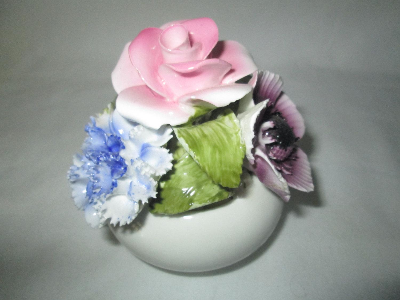Vintage Fine Bone China Flower Pot Figurine With Bone China Flowers