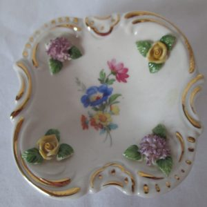 Vintage Fine Bone China Germany Trinket pin jewelry dish raised flowers at corners floral center trimmed in gold Dresdner Art
