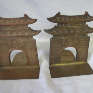 Vintage Folding Pagoda Brass Bookends Unique and Rare very nice condition Asian Style Great Detail