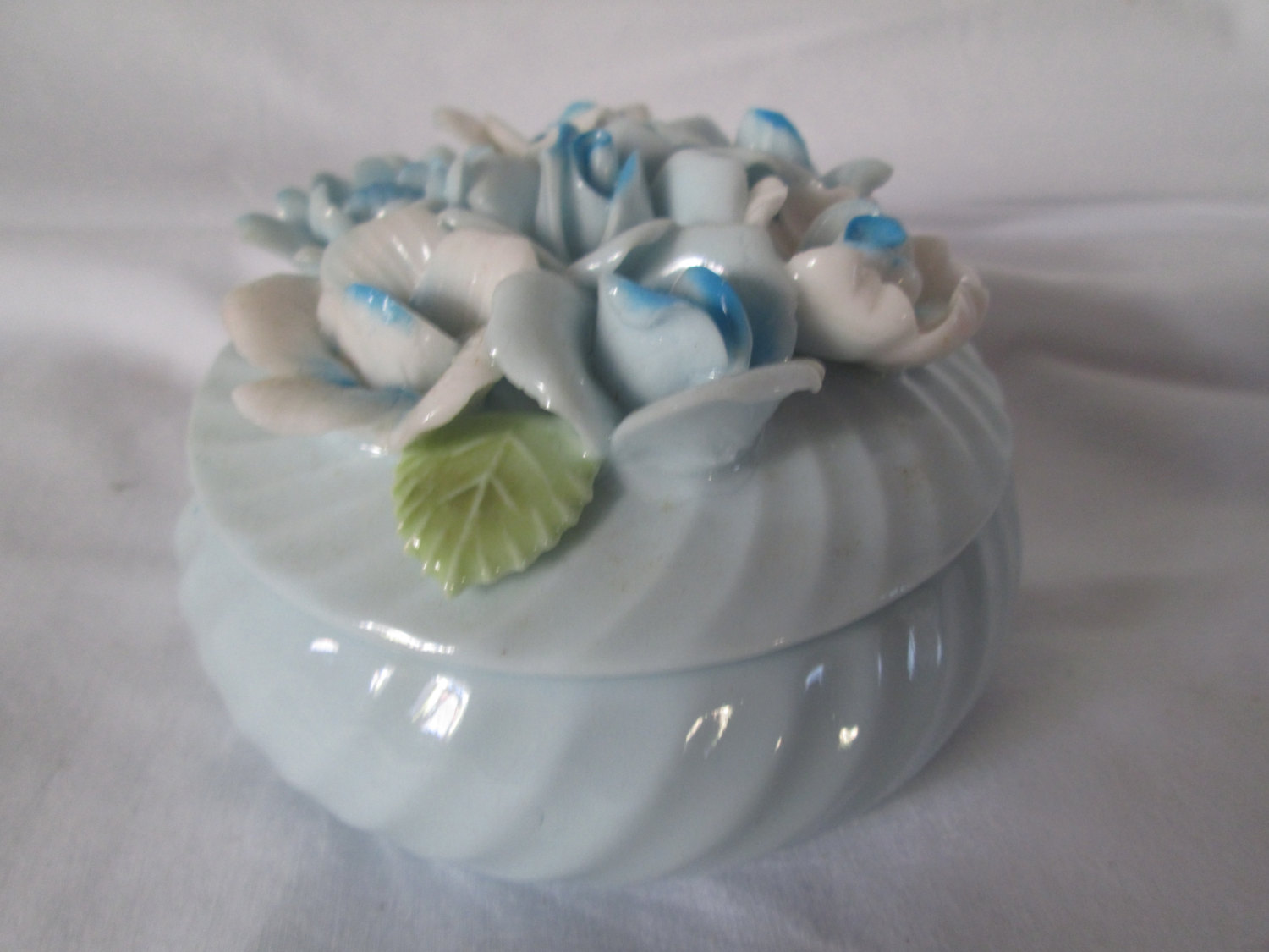 vintage hand decorated hand made blue swirl covered trinket dish fine china mid century decor collectible