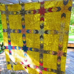 Vintage Hand made and stitched patchwork quilt cotton Bright yellow & yellow back red, green blue black pink gray Diamond pattern twin size