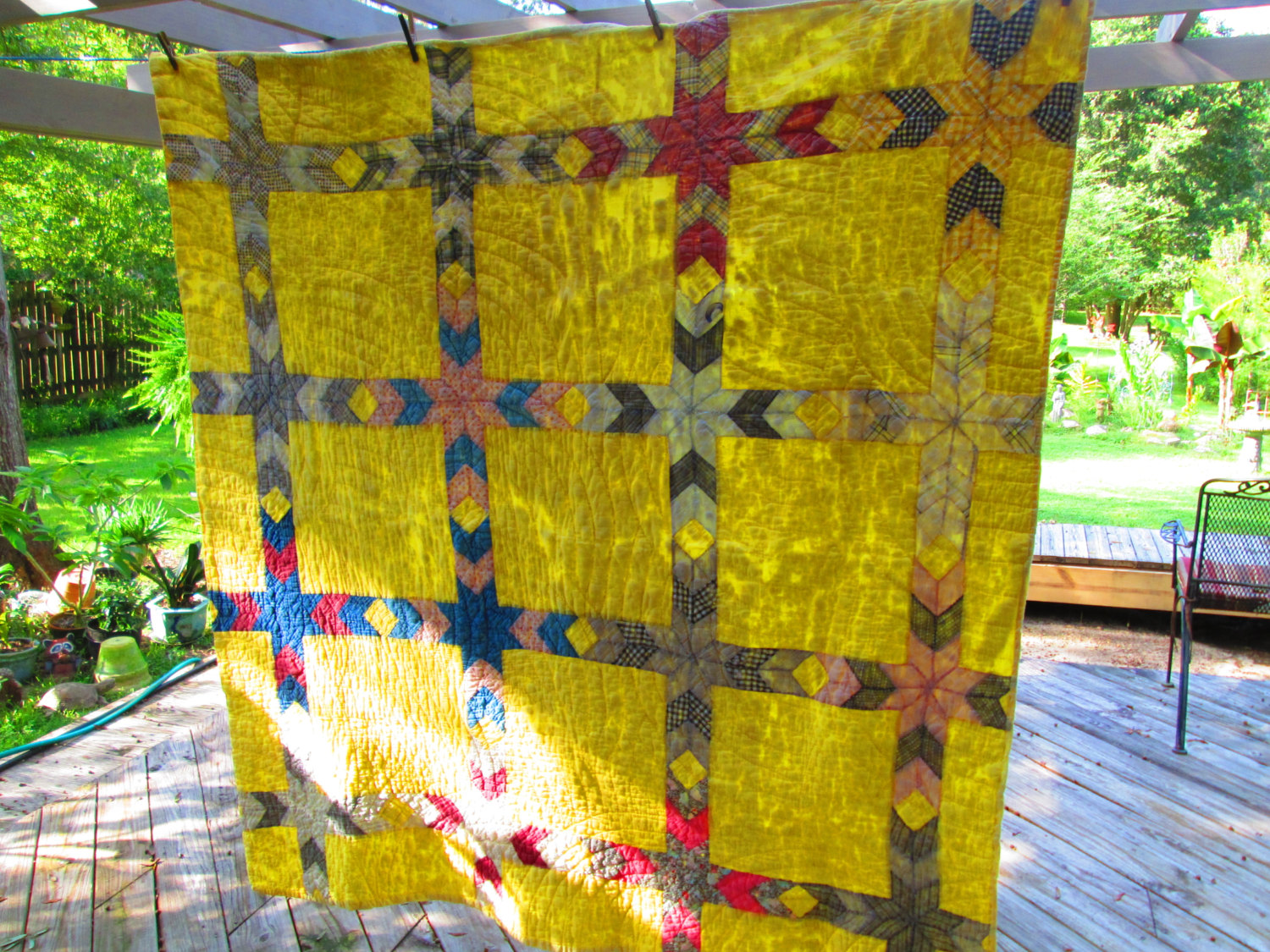 quilt bay gold frontoutsidempq in the first i fabrics green quilts time for steel packers my of season parti game are cotton modern just basics and finished