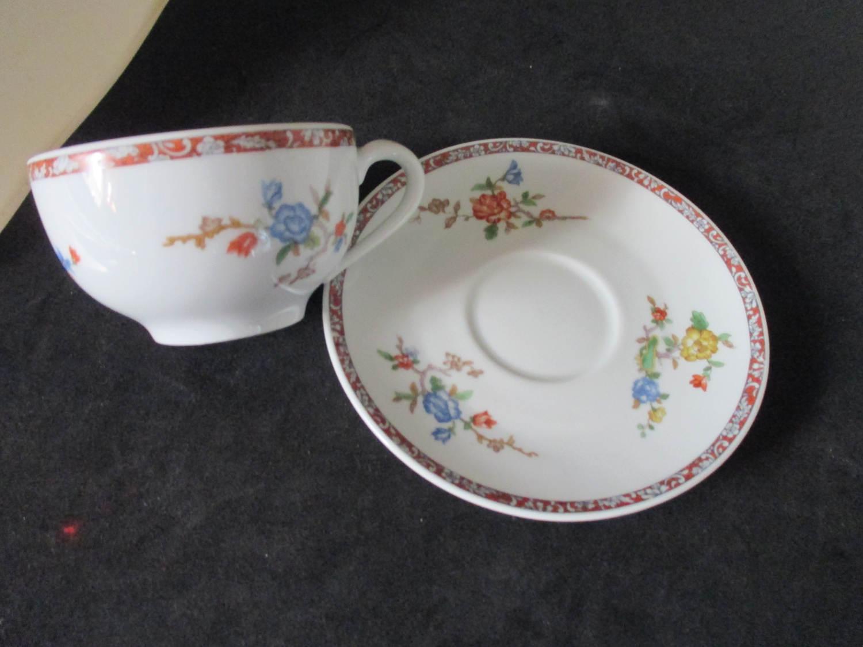 Vintage Haviland Limoges tea cup and saucer Asian design blue orange ...