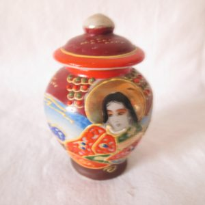 Vintage Japanese Hand Painted Miniature Vase with Lid Gold trim