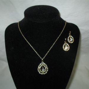 Vintage Jewelry a Beautiful Gold Tone and Jewelry Set Earrings and Necklace Crystals Aurora borealis