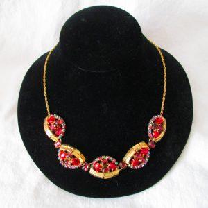 Vintage Jewelry Necklace Aurora Borealis Rhinestones Stunning Set  Goldtone metal