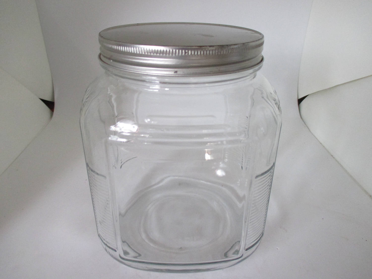 Vintage Kitchen Storage Canister Jar ribbed glass metal lid marbles buttons  cookies dog treats collectibles display apothecary tv movie prop
