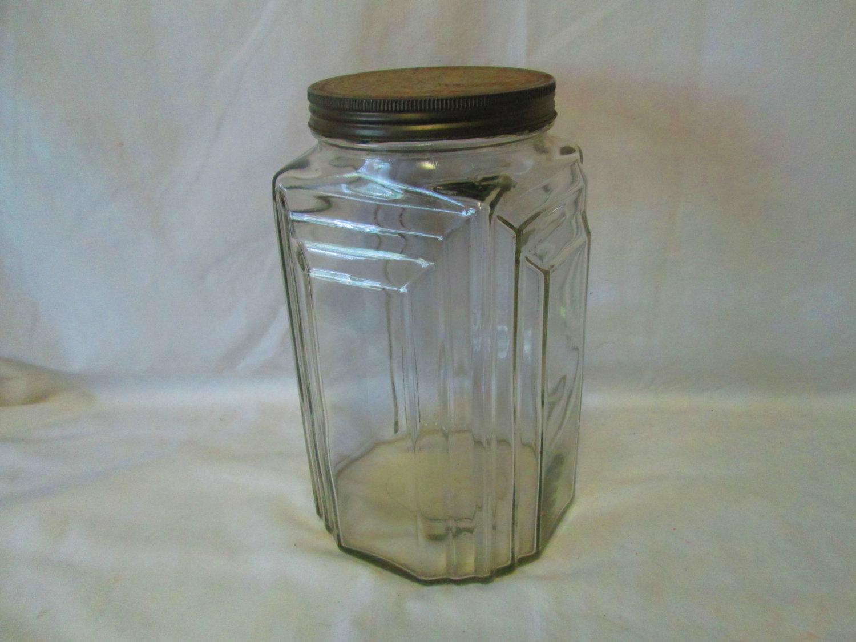 Vintage Large Apothecary Jar with metal lid Unique Art Deco Design ...