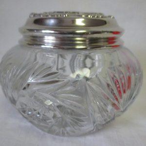 Vintage Large Cut Crystal Dresser Vanity Jar with Silverplate Silver plate lid Vanity display collectible jar bowl
