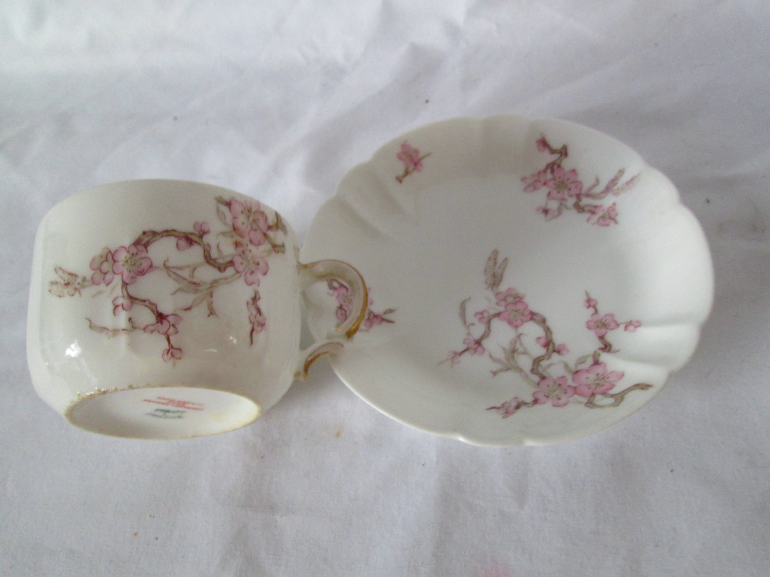 Vintage Limoges Pink Floral Tea cup and Saucer Haviland & Co  Prymer and  Edwards