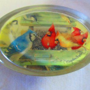 Vintage Marjolein Bastin Hallmark Birds in Cottage Feeders Clear Glass Oval paperweight