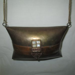 Vintage Metal Clam shell hard side Brass and Copper with mother of pearl blue lining shoulder bag