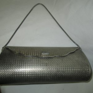 Vintage Metal hard side silver tone evening bag purse silver trim mirror inside silver lining silver snake chain handle