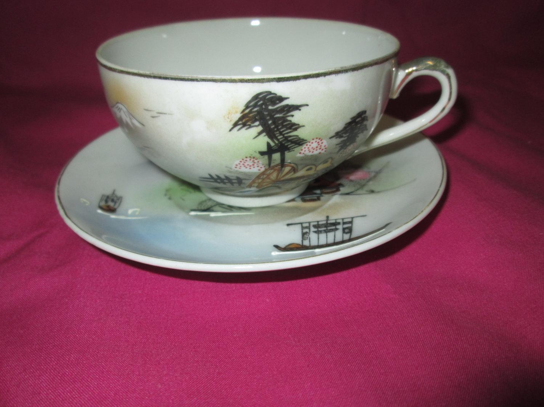 Vintage Mid Century Lithophane Japan Tea cup and saucer with Geisha girl  face in tea cup