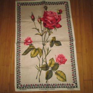 Vintage Mid Century Retro Linen Kitchen Towel Unused Bright and Vivid Colors Flowers Bright Pink Giant Roses Black pink whitetrim