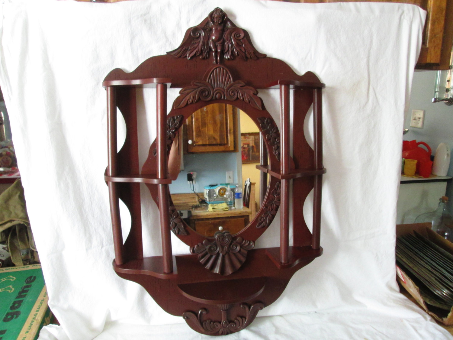 Vintage Mid Century Wall Mirror With Shelves And Columns Cherub At