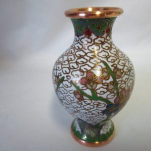 Vintage Miniature Green and White Floral Cloisonne' on Copper Vase