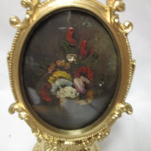 Vintage Miniature photo in gold metal frame on stand hand painted floral on tin