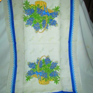 """Vintage New Old Stock Linen Bright Blue Floral Kitchen Towel Mint Condition 16"""" x 27"""""""