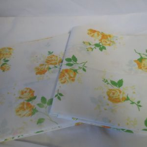 "Vintage No iron percale Yellow flower printed pillowcase pair green leaves yellow roses white and yellow daisies 20"" x 29"""