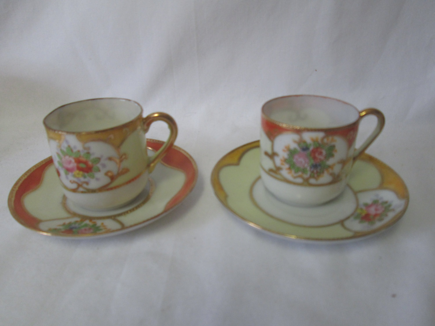 Vintage Ornate Gold Trimmed Pair of Occupied Japan Bone China Tea Cups and  Saucers