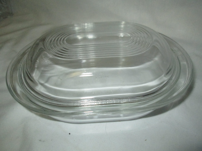 Vintage Oval Pyrex Lidded Casserole Dish Oven Safe Mid Century Glassware Bakeware Cookware