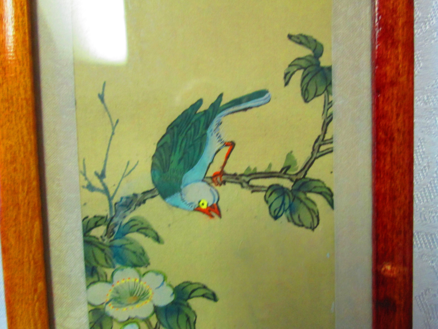 Vintage pair of Bird Water Colors on Silk Framed in Wooden Lacquer ...