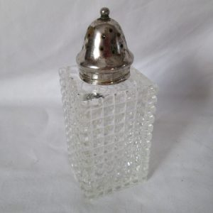 Vintage Powder Talcum container Sugar shaker Glass with Silverplate lid Squre pressed glass Vanity glass container