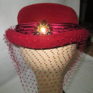 Vintage red teen Women's wool hat red rhinestone with netting small 6 1/4 hat Picardy made in France Felix satin layered trim