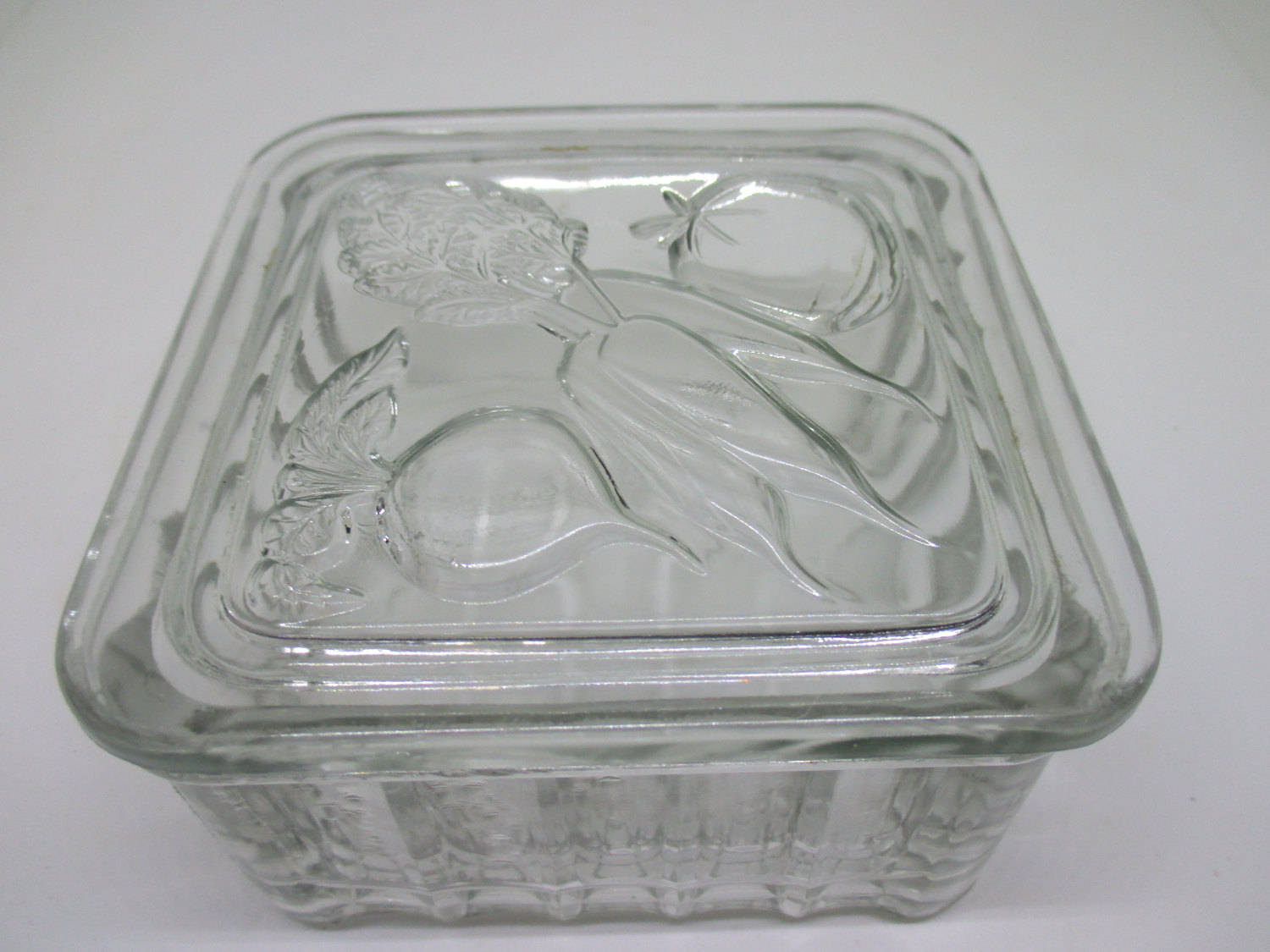 Vintage RETRO clear glass refrigerator Jar with Vegetable lid farmhouse  cottage collectible display kitchen decor